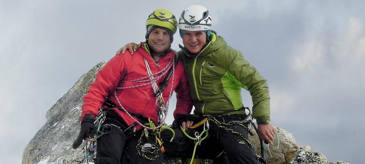 Roger Schaeli und Simon Gietl auf dem Arwa Spire.